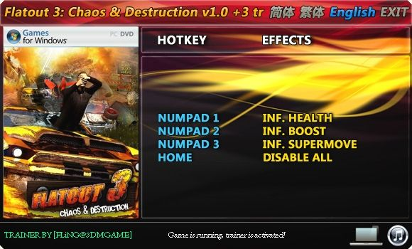 Flatout 3: Chaos and Destruction +3 Trainer [FliNG]